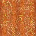 Abstract decorative music notes - Carpathian Elm wood texture