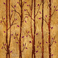 Abstract decorative trees - seamless background - wooden surface Royalty Free Stock Photo