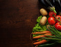 Abstract design background vegetables on wooden Royalty Free Stock Photo
