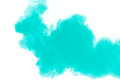 Abstract design of green powder cloud against white background