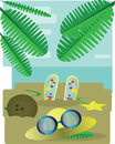 Abstract design with palm leaves, sand, slippers, hat and sun glasses, view to the sea Royalty Free Stock Photo