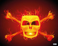 Abstract design of scull with x crossed bones smiling on fire on red and orange background Royalty Free Stock Photos