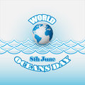 Abstract, design, template for World Oceans day, celebration