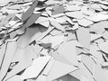 Abstract destruction white surface. Chaotic broken fragments bac