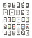 Abstract different mobile gadgets with icons on screen Royalty Free Stock Photo