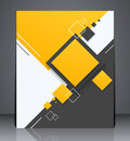 Abstract digital business brochure flyer geometric design with squares in a size layout cover yellow colors Royalty Free Stock Images
