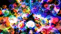 Abstract dimension rainbow bubbles with dancing hearts floating on black screen with white star theme valentine day Royalty Free Stock Photo