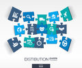 Abstract distribution background with connected color puzzles integrated flat icon d concept with delivery service shipping Royalty Free Stock Images