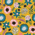 Abstract doodle flowers and leaves seamless vector pattern blue pink white black mustard yellow. Hand drawn flat florals