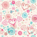 Abstract doodle seamless background with hearts romantic scribble pattern cute beauty fabric texture Stock Photo