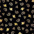 Abstract doodle shapes gold foil seamless vector background. Shiny metallic golden triangles, twirls, squares, dots on black.