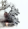 Abstract double exposure of woman and nature at the sunset on th beauty river concept Stock Images