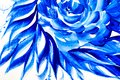 Abstract drawing brush in the form of leaves blue paint Royalty Free Stock Photo