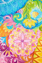 Abstract drawing oil paints on a canvas with floral ornament background graphic Royalty Free Stock Image