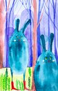 Abstract drops-rabbits got lost in a fairy forest among trees. One of them is wearing red boots. Comic watercolor illustration