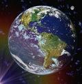 Abstraktné Zem modrý planéta v priestor