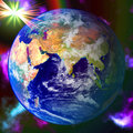 Abstract Earth blue planet in space Stock Photo