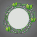 Abstract eco creative background gray with fresh green leaves vector illustration Royalty Free Stock Photo