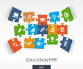 Abstract education background, connected color puzzles, integrated flat icons. 3d infographic concept with school, science Royalty Free Stock Photo