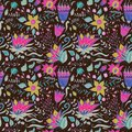 Abstract Elegance seamless floral pattern on a dark background. Bright colors. Beautiful flower texture. Vector illustration. Royalty Free Stock Photo