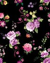 Abstract elegance seamless pattern with floral on black color background. Ready for textile prints. Royalty Free Stock Photo