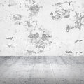 Abstract empty white interior with concrete wall damaged Stock Photography