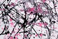 Abstract expressionism pattern. Style of drip painting. Black, R