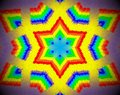Abstract extruded mandala 3D illustration rainbow
