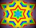 Abstract extruded mandala 3D illustration rainbow