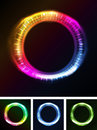 Abstract eyes iris or neon light illustration of a set of with circles on black background also you can think of a sun eclipse Stock Image