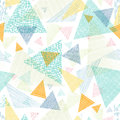Abstract fabric triangles seamless pattern vector background with hand drawn elements Stock Photography