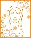 Abstract face autumn girl portrait Royalty Free Stock Photos
