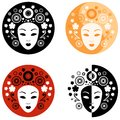 Abstract face on the circle illustration of women s Royalty Free Stock Photos
