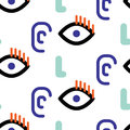 Abstract faces hipster vector seamless pattern.