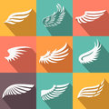 Abstract feather angel or bird wings icons set Royalty Free Stock Photo
