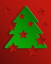 Abstract festive background paper with christmas tree and stars Stock Photo