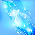 Abstract festive blue background modern with stars and waves Stock Photography