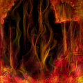 Abstract fiery background fantasy of columns dots flowers and strings some hellish temple digital painting Stock Photo