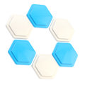 Abstract figure of six hexagon plates Royalty Free Stock Image