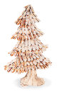 Abstract fir tree from wood chips for Christmas Stock Photos