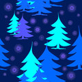 Abstract fir trees blue turquoise purple on dark blue with purple snowflakes