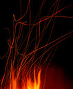 Abstract fire sparks in outdoor pit Stock Photography