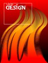 Abstract fire wavy background. Dynamic curves form effect. Design template. Vector Illustration.
