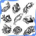 Abstract Fish - vector set. Royalty Free Stock Images