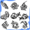 Abstract Fish - vector set. Royalty Free Stock Image