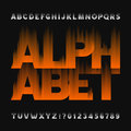 Abstract flame alphabet font. Type letters and numbers on a dark background.