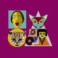 Abstract flat style background people-cat-crimson
