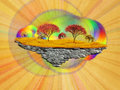 Abstract floating island with autumn trees Royalty Free Stock Photos