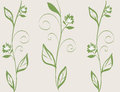 Abstract flora line art illustration; nature decorative wallpaper in green