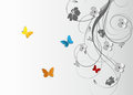 Abstract floral background with butterflies Royalty Free Stock Photo